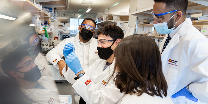 grad students in a lab