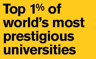 Top 1% of world's most prestigious universities